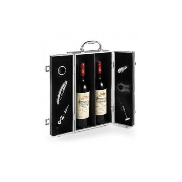 aluminium wijnkist 2 vaks met 6 accessoires