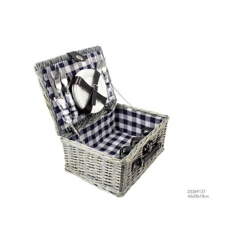 picknickmand 4 personen grijs